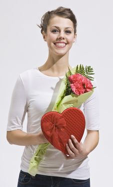 Attractive Woman And Valentines Day Gifts Royalty Free Stock Photo