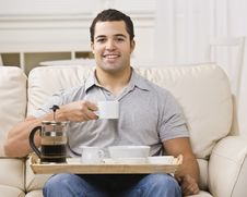 Free Man With Breakfast Tray And Coffee Royalty Free Stock Images - 9913939