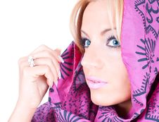 Free Beautiful Blondy With Scarf Royalty Free Stock Photography - 9915687