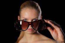 Free Woman Holding Sunglasses Royalty Free Stock Photo - 9915735