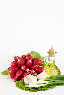 Green Vegetables And  Bottle Of Oil Stock Photography