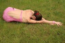 Free Girl Lying On Grass Stock Images - 9919914