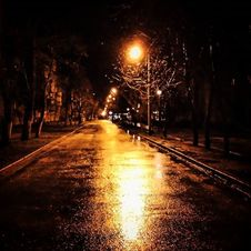 Free Wet City Street At Night Stock Image - 99110441