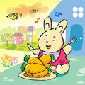 Free Cute Rabbit On Cheerful Breakfast Stock Images - 9923944