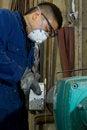 Free Polishing Metal In Workshop Royalty Free Stock Image - 9928206