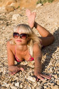 Free The Sexual Young Blonde Girl On A Beach Royalty Free Stock Photography - 9928297