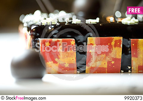 Free Dark Chocolate Tart With Raspberry Wafer Stock Photos - 9920373