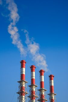 Four Factory Chimney Stock Images