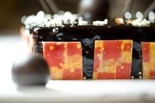 Dark Chocolate Tart With Raspberry Wafer Stock Photos