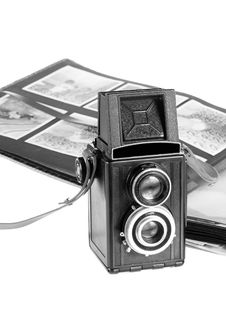 Twin Lens Camera And Photo Album Royalty Free Stock Photography