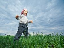 Little Girl In Field Royalty Free Stock Image