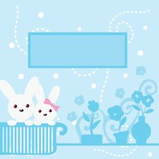 Free Cute Bunny Blue Background Stock Photo - 9922070