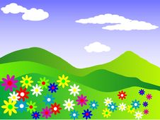 Free Spring Meadow, (vector File Included) Royalty Free Stock Photos - 9923648