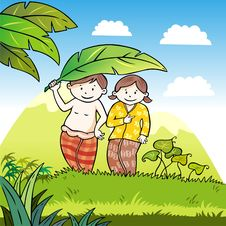 Free Happy Children With A Banana Leaf Stock Image - 9923821