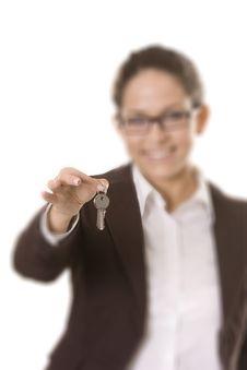 Businesswoman Holding Keys Stock Image