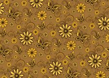 Brown Floral Pattern Royalty Free Stock Photos