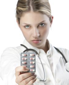Free Female Doctor Handing Medicine Stock Images - 9926794