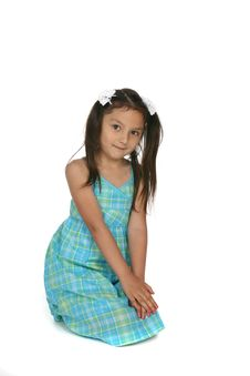Free Cute Asian American Girl In Blue Plaid Dress Royalty Free Stock Images - 9927679