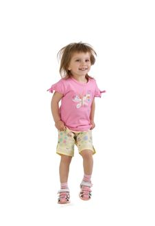 Free Cute Little Girl Jumps Royalty Free Stock Photography - 9928047