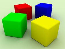 Free Four Cubes Royalty Free Stock Image - 9928146