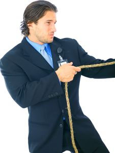 Free Struggling Businessman Pulling Rope Stock Photos - 9928163