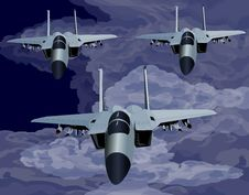 Free F-15 Fighter Flying In Formation Stock Photos - 9928903