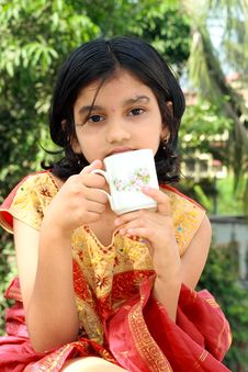 Free Girl Having A Morning Tea Stock Photos - 9929223