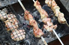 Shish Kebab Roasting On An Open Fire Stock Photography