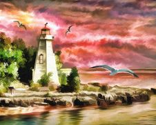 Free Painting, Sky, Lighthouse, Tower Stock Photos - 99288073