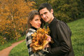 Free Young  Couple In Autumn Park Stock Photos - 9932933