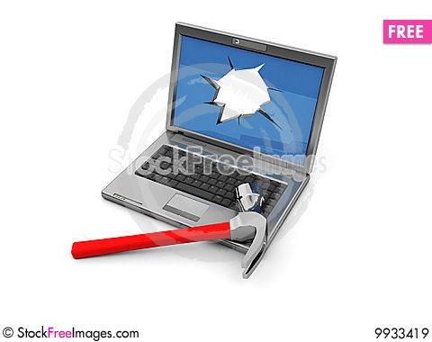 Free Crashed Laptop Royalty Free Stock Images - 9933419