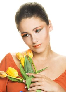 Free Woman With Tulips Royalty Free Stock Photo - 9931195