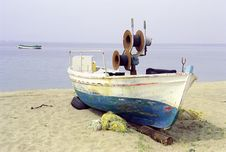 Old Fishing Boat On The Beach Stock Images
