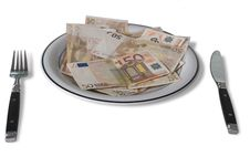 Free Fifty Euro Banknotes On A Plate Stock Photos - 9931843