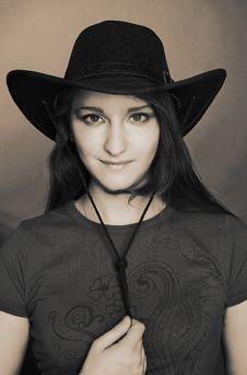 Free Girl In Dark Hat Royalty Free Stock Image - 9931976