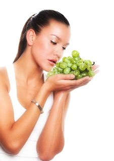 Free Woman With Green Grape Royalty Free Stock Photo - 9932715