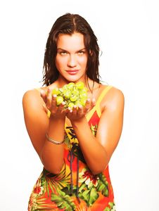 Free Woman With Bunch Of Grapes Royalty Free Stock Photos - 9932758