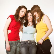 Free Portrait Of Three Smiling Girlfriends Stock Image - 9932911