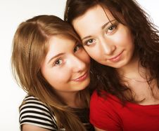 Free Two Teenage Girls Together Smiling Stock Photography - 9932912
