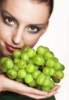 Free Woman With Green Grape Stock Image - 9932941