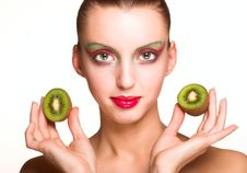 Free Woman With Kiwi Stock Photography - 9932942
