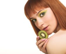 Woman With Kiwi Royalty Free Stock Images