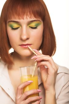 Woman With Orange Juice Stock Image