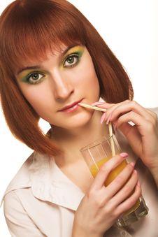 Woman With Orange Juice Royalty Free Stock Photos