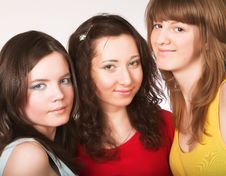 Free Portrait Of Three Smiling Girlfriends Stock Image - 9933021