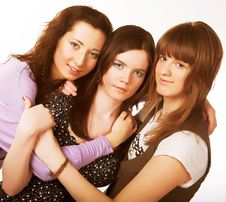 Free Portrait Of Three Smiling Girlfriends Royalty Free Stock Photo - 9933025