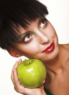 Free Beautiful Woman With Apple Stock Images - 9933034