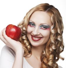 Free Woman With Apple Royalty Free Stock Image - 9933046