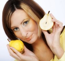 Free Girl With Pear Royalty Free Stock Photography - 9933057