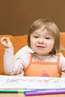 Free Baby Girl Drawing Royalty Free Stock Photos - 9933138